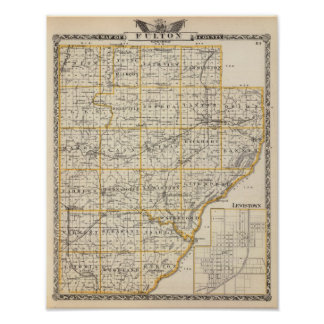 Map of Fulton County and Lewistown Poster