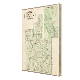 Map of Fulton County with Rochester, Fulton Co Canvas Print