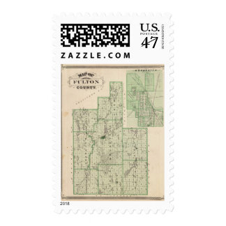 Map of Fulton County with Rochester, Fulton Co Postage