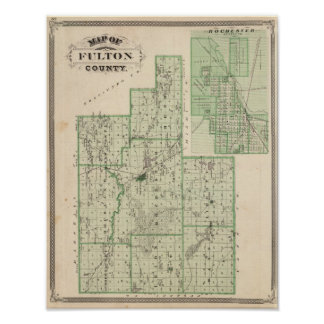 Map of Fulton County with Rochester, Fulton Co Poster