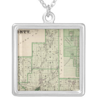Map of Fulton County with Rochester, Fulton Co Square Pendant Necklace