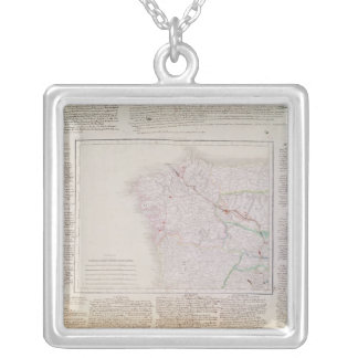 Map of Galicia with the route of the French army Silver Plated Necklace