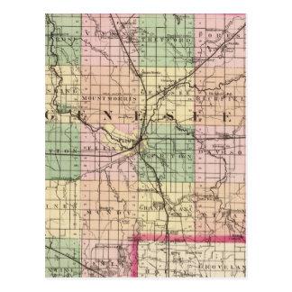 Map of Genesee County, Michigan Postcard