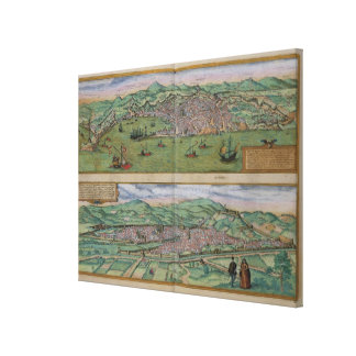 Map of Genoa and Florence, from 'Civitates Orbis T Stretched Canvas Prints