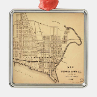 Map of Georgetown D.C. (District of Columbia) 1874 Metal Ornament