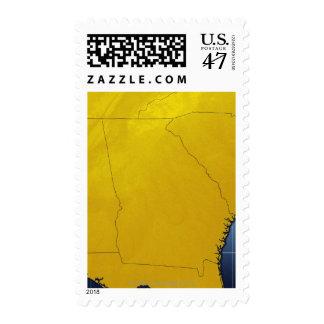 Map of Georgia 3 Postage Stamp