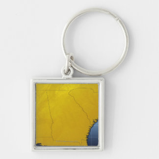 Map of Georgia 3 Silver-Colored Square Keychain
