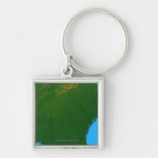 Map of Georgia 4 Silver-Colored Square Keychain