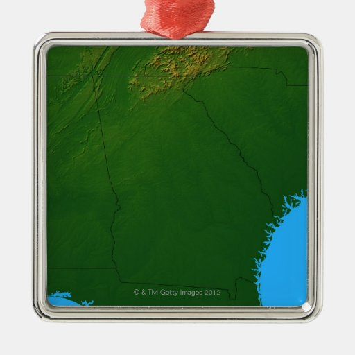 Map of Georgia 4 Square Metal Christmas Ornament
