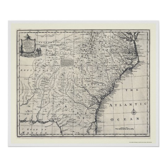 Map of Georgia and Carolinas by Bowen 1752 Poster
