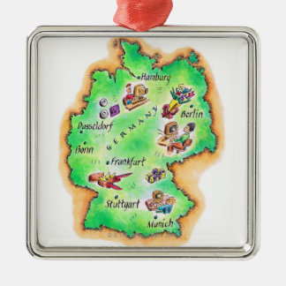 Map of Germany Square Metal Christmas Ornament