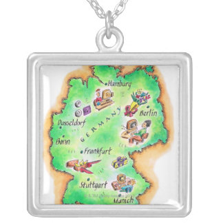 Map of Germany Square Pendant Necklace