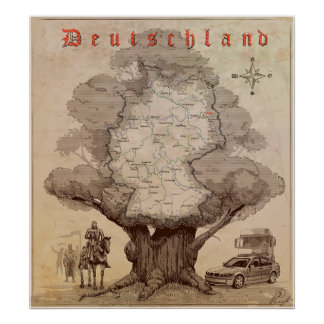 Map of Germany. Style of an old engraving. Poster