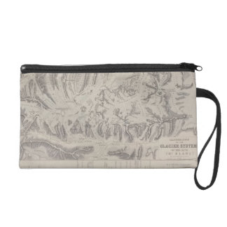 Map of Glacier Systems of the Alps Wristlet Clutches