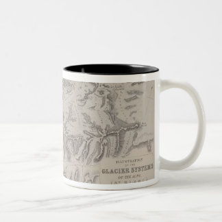 Map of Glacier Systems of the Alps Two-Tone Coffee Mug
