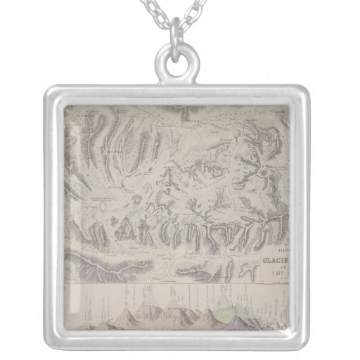 Map of Glacier Systems of the Alps Square Pendant Necklace