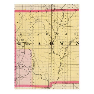 Map of Gladwin County, Michigan Postcard