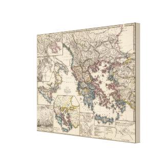 Map of Graecia, Macedonia, Thracia Canvas Print
