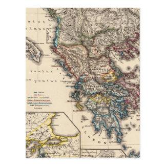 Map of Graecia, Macedonia, Thracia Postcard