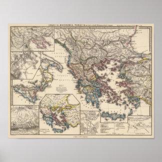 Map of Graecia, Macedonia, Thracia Poster