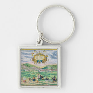 Map of Granada, from 'Civitates Orbis Terrarum' by Silver-Colored Square Keychain