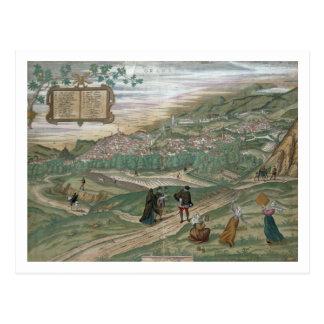 Map of Granada, from 'Civitates Orbis Terrarum', V Postcard