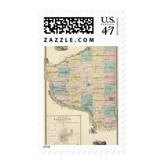 Map of Grant County and Village of Lancaster Postage