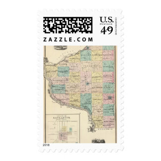 Map of Grant County and Village of Lancaster Postage Stamps