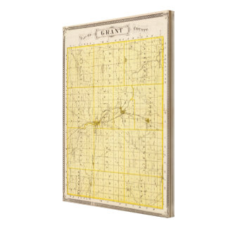 Map of Grant County Gallery Wrapped Canvas