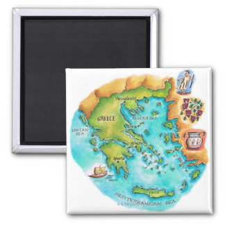 Map of Greece Isles 2 Inch Square Magnet