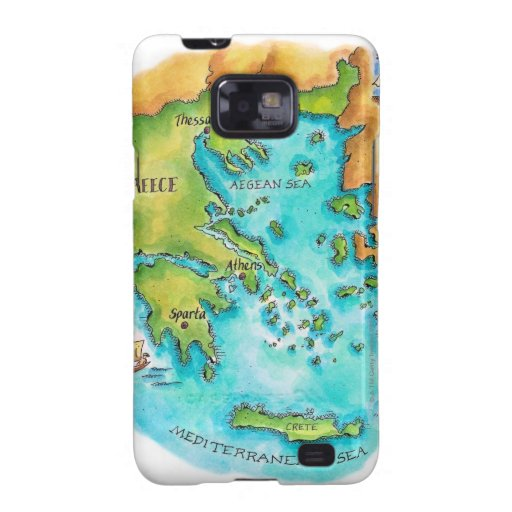 Map of Greece Isles Galaxy S2 Case