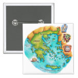Map of Greece Isles Pinback Button