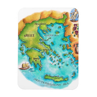 Map of Greece Isles Rectangular Photo Magnet