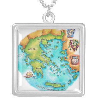 Map of Greece Isles Silver Plated Necklace