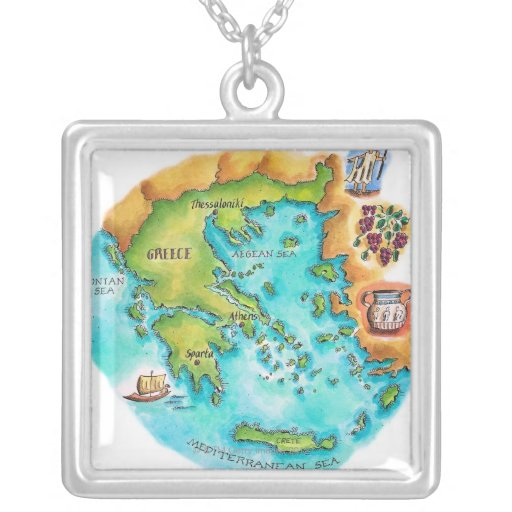 Map of Greece Isles Square Pendant Necklace