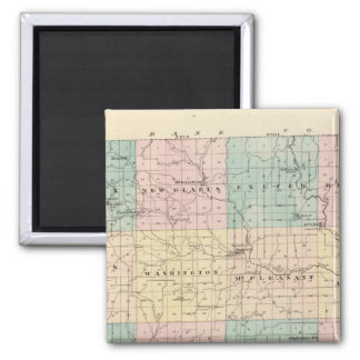 Map of Green County, State of Wisconsin 2 Inch Square Magnet