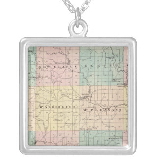 Map of Green County, State of Wisconsin Silver Plated Necklace