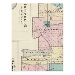 Map of Green Lake County, State of Wisconsin Postcard