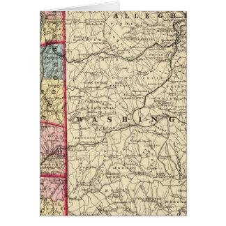 Map of Hancock, Brooke, Ohio, Marshall counties Greeting Card