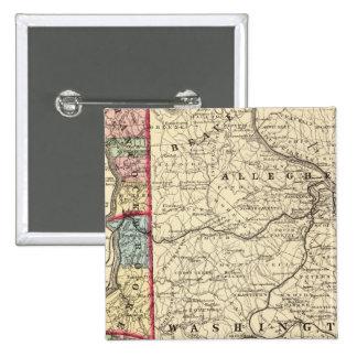 Map of Hancock, Brooke, Ohio, Marshall counties Pinback Button