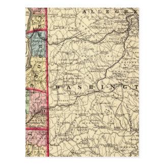 Map of Hancock, Brooke, Ohio, Marshall counties Postcard