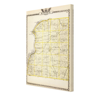 Map of Hancock County Stretched Canvas Print