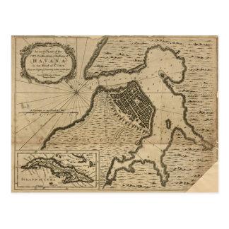 Map of Havana, Cuba (1762) Postcard