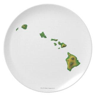 Map of Hawaii 2 Melamine Plate