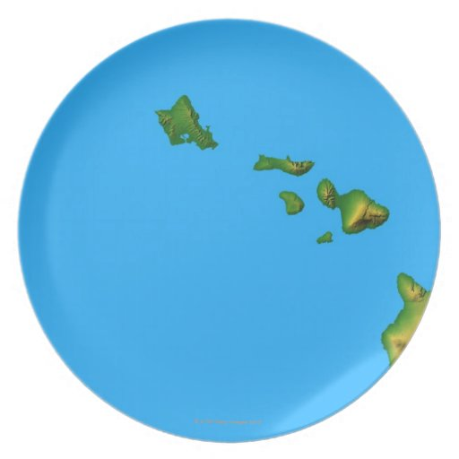 Map of Hawaii Dinner Plate