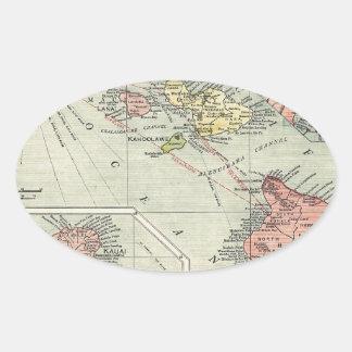 Map of Hawaii – Rand McNally (1912) Oval Sticker