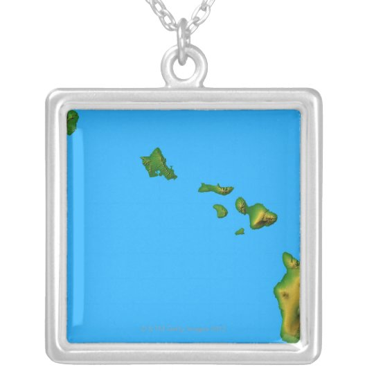 Map of Hawaii Silver Plated Necklace