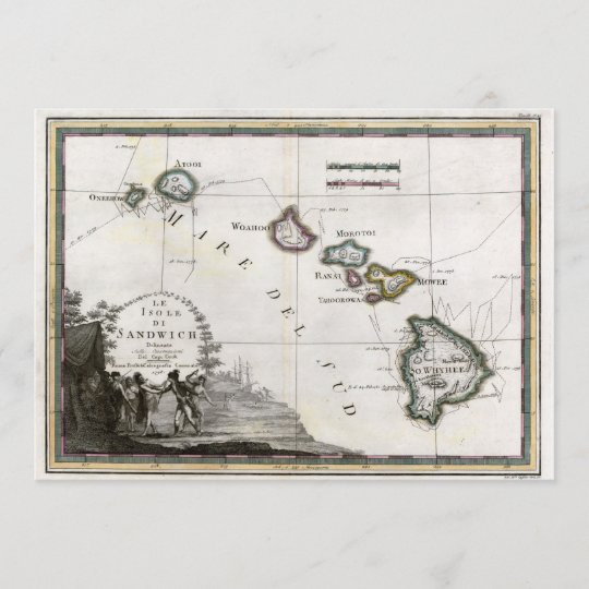 Map Of Hawaii With Captain Cook Vignette Zazzle Com
