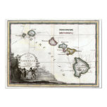 """Map of Hawaii with Captain Cook vignette 5"""" X 7"""" Invitation Card"""