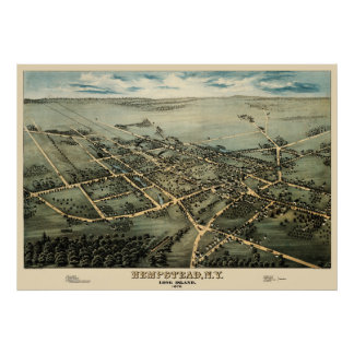 Map of Hempstead, New York in 1876 Poster